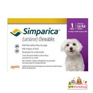 Simparica (สุนัข 2.5-5 กก)  กำจัดเห็บ หมัด ขี้เรื้อน ไรหู (3เม็ด/กล่อง)