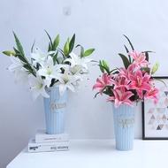 仿真百合花假花塑膠花客廳落地裝飾插花藝擺設花束單支百合花插花