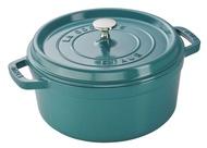 *福利品*法國 Staub 圓形鑄鐵鍋 24cm  土耳其藍 , 史大伯