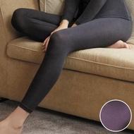 【華歌爾】EKS美肌發熱衣M-LL九分長內搭褲(條紋紫)