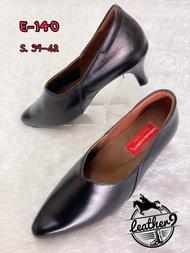 รองเท้าหนังแท้หญิง รองเท้าคัชชูทำงาน รุ่น E-140 สีดำ (ส่งฟรี มีรับประกัน)