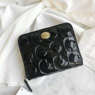 美國百分百【全新真品】COACH 漆皮 亮皮 短夾 皮夾 皮包 錢包 卡夾 證件包 logo 女包 黑色 AA63