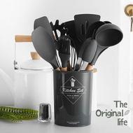 廚房用品 鍋鏟 廚具 黑色矽膠實木手柄廚具11件套組