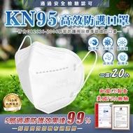 【現貨供應】KN95高效防護口罩 美國FDA歐盟CE認證20入/包