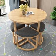 小戶型餐桌 簡約接待洽談桌椅組合咖啡廳奶茶店可收納休閑小戶型陽臺小圓桌凳