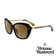 【Vivienne Westwood 英國 太陽眼鏡】經典LOGO金邊太陽眼鏡(VW88302_金綠)