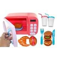 Children Pretend Play Toys Electric Home Appliances Simulation Microwave Oven with Light Rotate Playset for Kids Microwave Oven,Pink