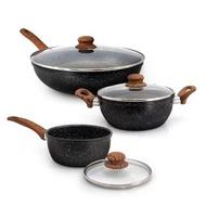 日本半藏麥飯石厚釜鑄造不沾鍋具組