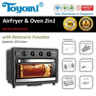 TOYOMI Air Fryer Oven 2 in 1 25L  [Model: AFO 2525RC] - Official TOYOMI Warranty Set.