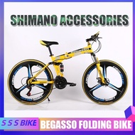 Begasso Folding Bicycle Shimano Accessories 24/27 26inch Mountain Bike Damping Disc Brake Variable Speed Soft Tail