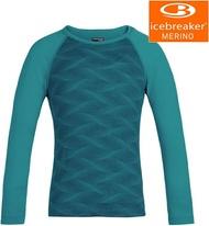 Icebreaker 小朋友排汗衣/底層衣/衛生衣/美麗諾羊毛 兒童款 Oasis 圓領長袖上衣 BF200 104502 水藍波紋402