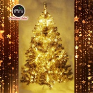 【摩達客】台灣製6呎/6尺180cm豪華版氣質霧金系聖誕樹不含飾品(100燈LED燈暖白光2串附IC控制器)