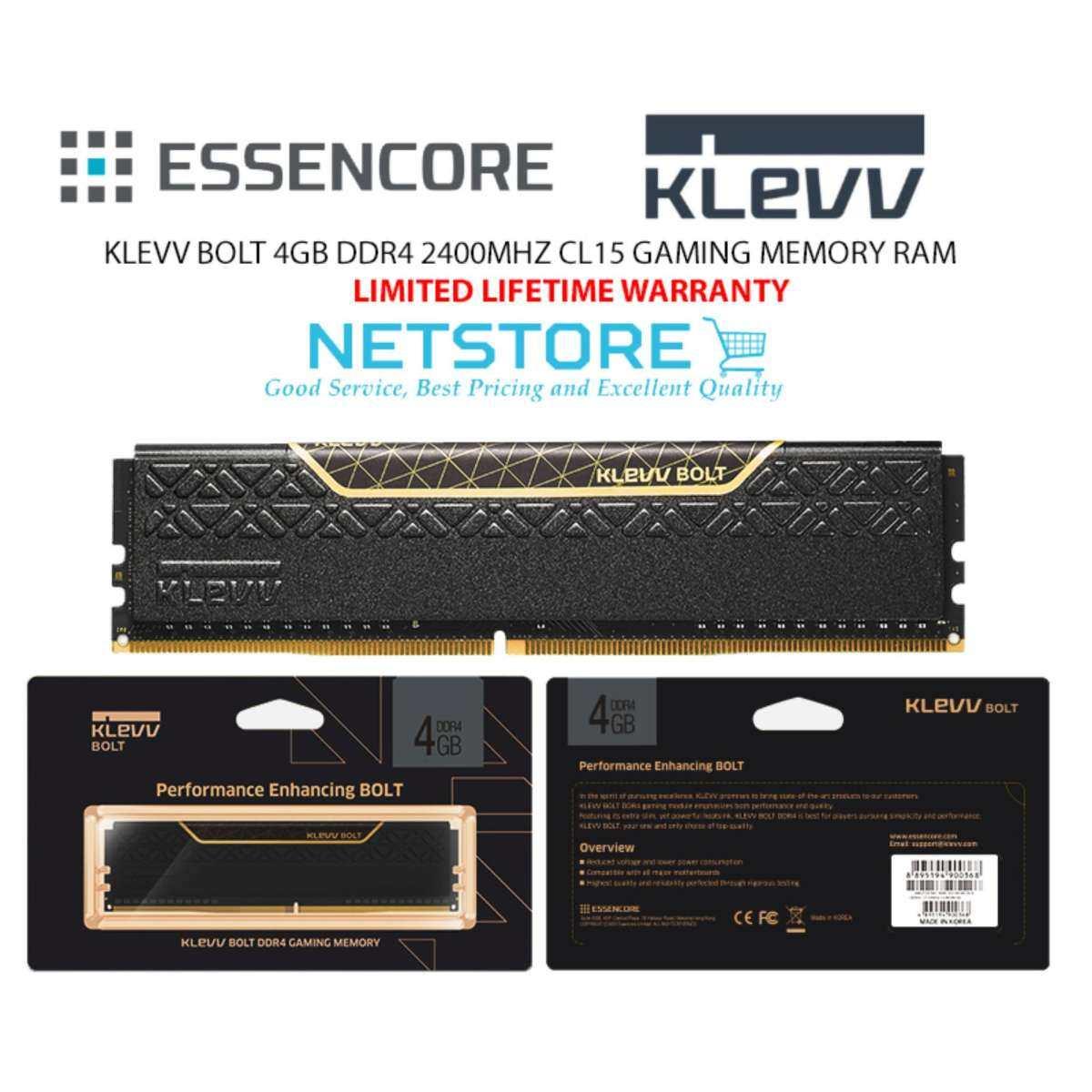 KLEVV BOLT 4GB DDR4 2400MHZ CL15 GAMING MEMORY RAM