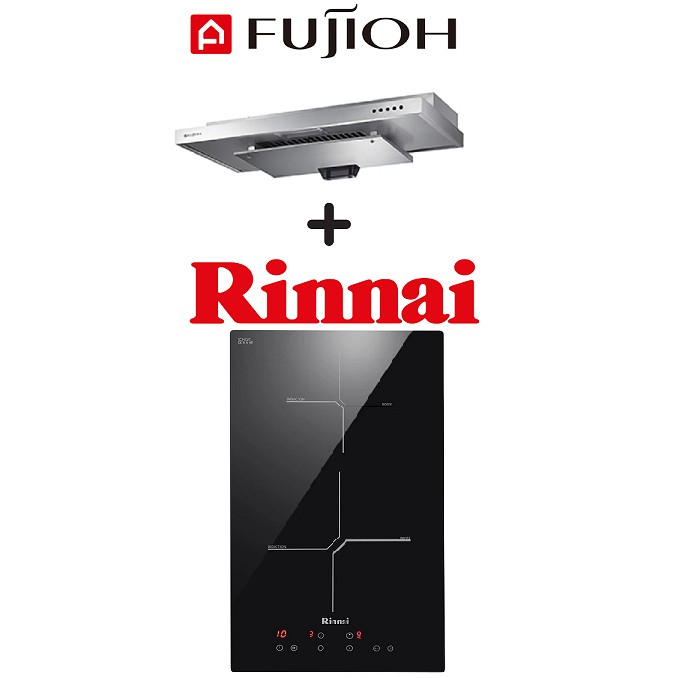 FUJIOH SLM900R SLIMLINE HOOD + RINNAI RB-3012H-CB 2 ZONE INDUCTION HOB