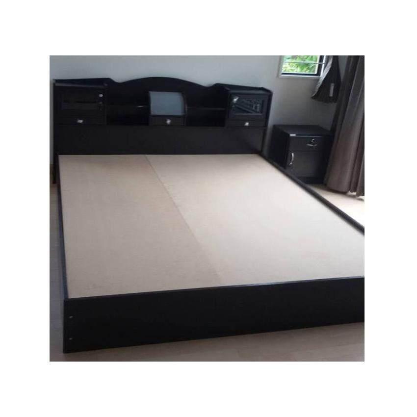 furnituredd เตียงนอน ขนาด 6 ฟุต A5 สีโอ๊ค ( ไม่รวมที่นอน )