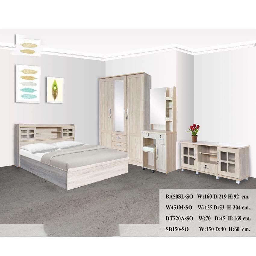 furnituredd ชุดห้องนอนบานเลือน 6 ฟุต เตียง ตู้เสื้อ ตู้ทีวี โต๊ะแป้ง ไม่มีที่นอน สีไลท์โอ๊ค