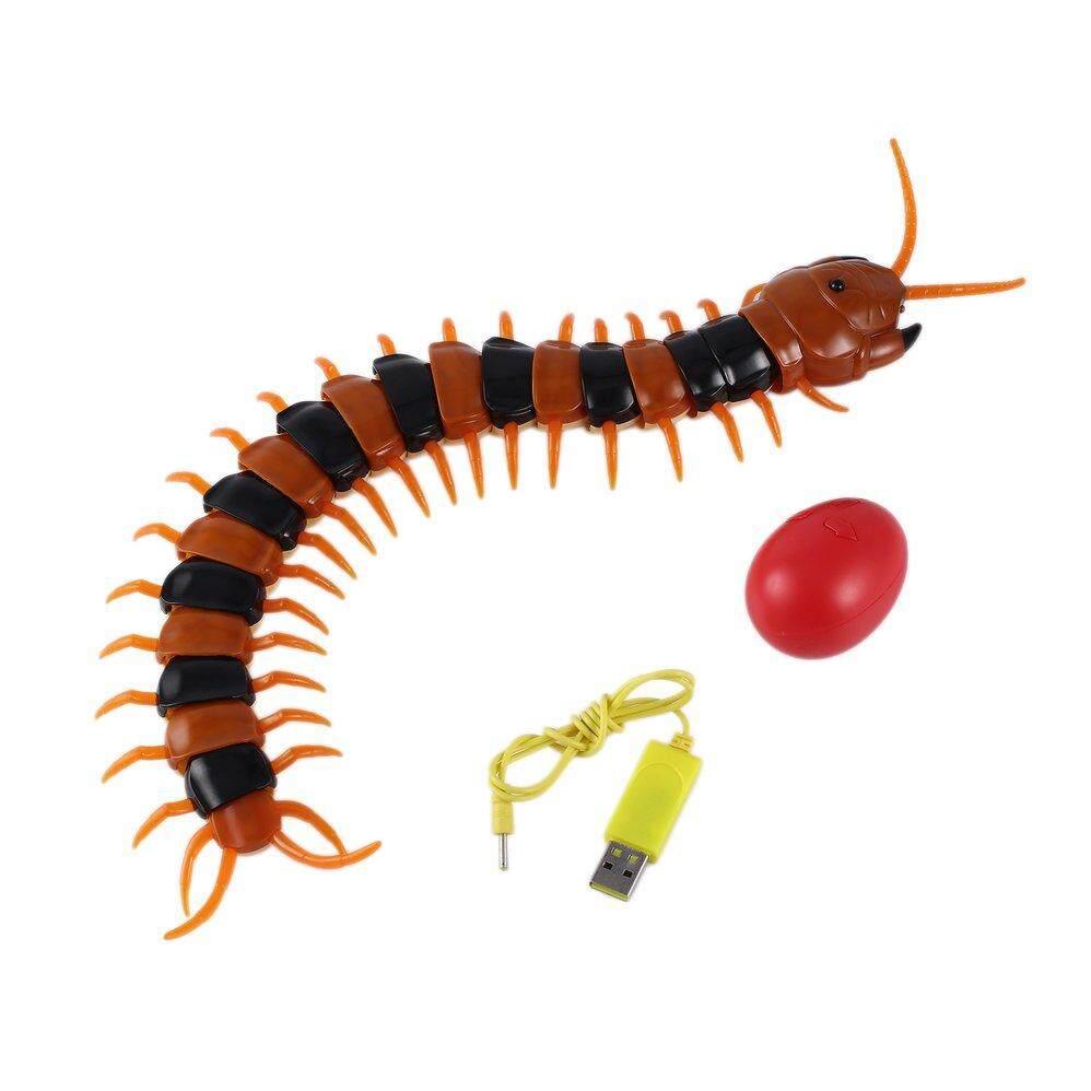 ไฟฟ้าอินฟราเรด RC Centipede จำลองแมลงควบคุมระยะไกล Centipede ไฟฟ้าหากินตลกของเล่นแมวสุนัข (Black & Orange)