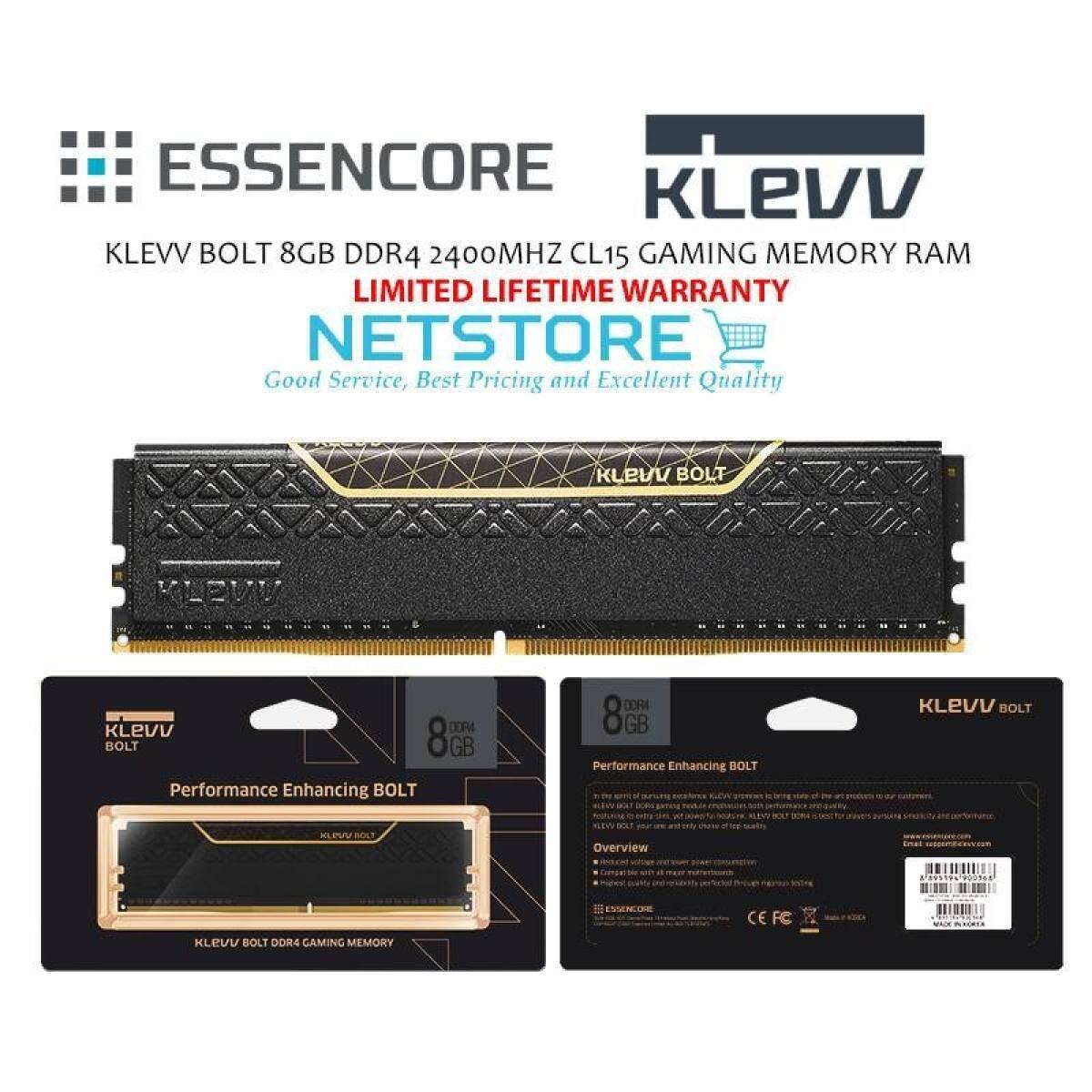 KLEVV BOLT 8GB DDR4 2400MHZ CL15 GAMING MEMORY RAM