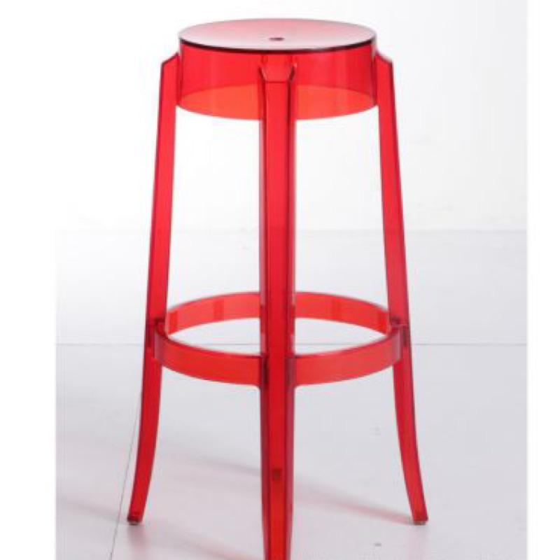 設計師透明壓克力 吧台椅 高腳椅 高65 cm 紅色二手出清 loft 現貨在台
