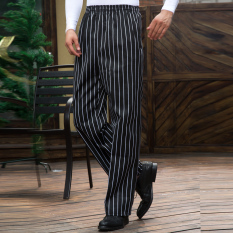 Feng ben Men's Trousers Straight-leg Pants Chef Pants BLACK&WHITE Striped Pants Chef Work Pants Full Elastic Waist Adjustable