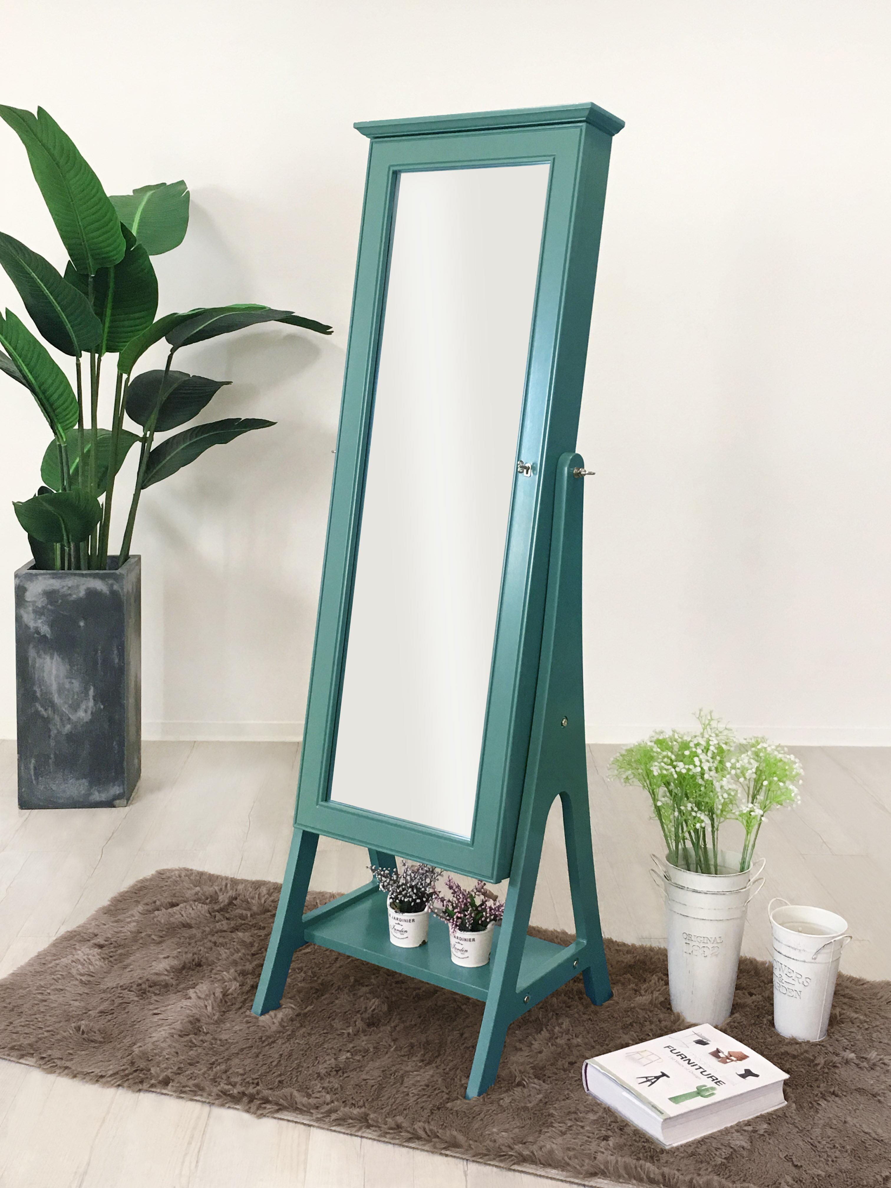 !新生活家具!《美美》綠色 白色 藍綠色 全身鏡 立鏡 穿衣鏡 化妝鏡 珠寶穿衣鏡 珠寶櫃 首飾櫃 鏡子 美式鄉村 收納