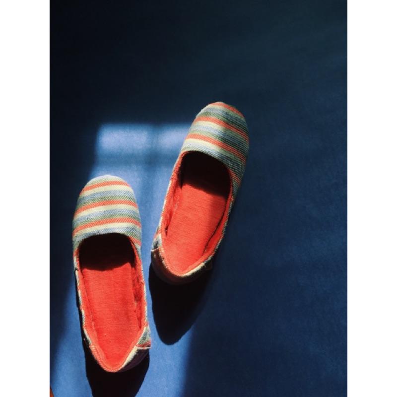 Solerebels 條紋平底鞋 娃娃鞋 休閒鞋手工鞋23 日系 清新