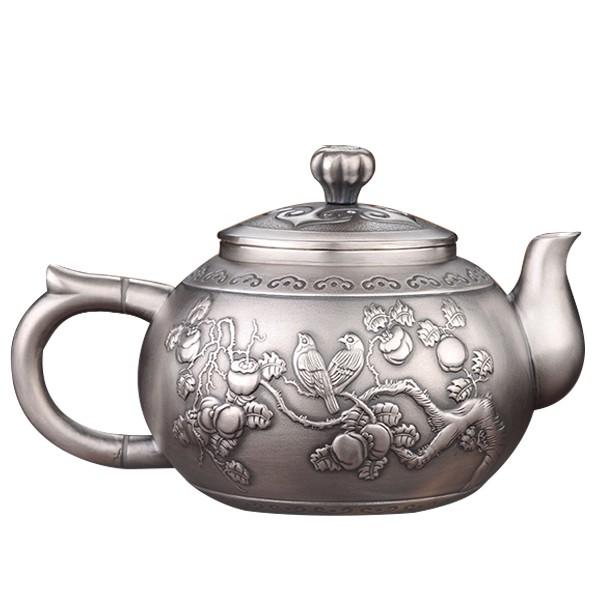 5Cgo中式宮廷風純銀茶壺茶具套裝家用燒水銀壺泡茶煮水壺日本純手工銀水壺龍鳳呈祥事事如意百福589889251127