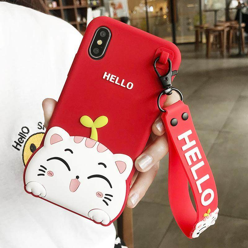 1 Pc/lot For iPhone XR Hello Cat Case For iPhone XR soft Phone Case +Strap Pendant Multi-Color