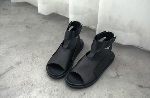 FINDSENSE MD 日系 時尚 潮 男 高品質 頭層牛皮 露趾 魔術貼 高筒 鏤空 羅馬涼鞋