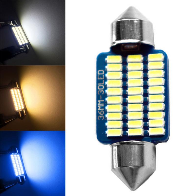 36mm藍板汽車雙尖閱讀燈30LED 36MM 30LED汽車無錯內部閱讀燈燈泡12V