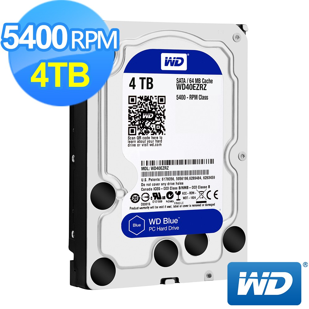 威騰 WD 4TB 4T 藍標 3.5吋 三年保 硬碟 WD40EZRZ 搭機用 工業包 裸裝