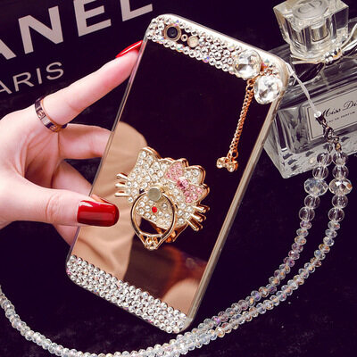 Oppo R9S Mobile Phone Case R11 A59 Mirror Tpu Diamond R9plusCreative Protective Cover A39 R7SA57 (Color: KT Cat Stent / Size:Oppo R7plus) - intl