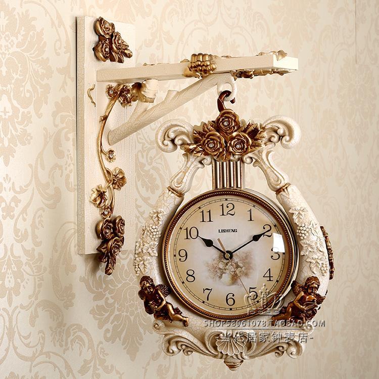 歐式雙面掛鐘客廳創意靜音兩面鐘錶現代復古美式時尚家用時鐘豎琴