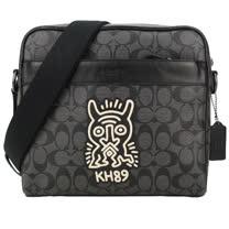 COACH KEITH HARING CHARLES 聯名烙印LOGO拼接PVC皮方形拉鍊斜背包(黑灰)