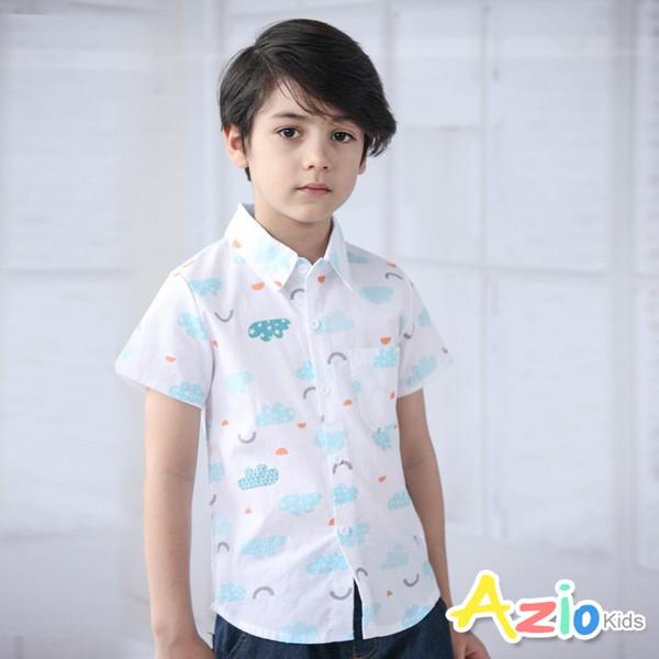 Azio Kids童裝 男童上衣 造型雲朵幾何圖型單口袋短袖襯衫(白)