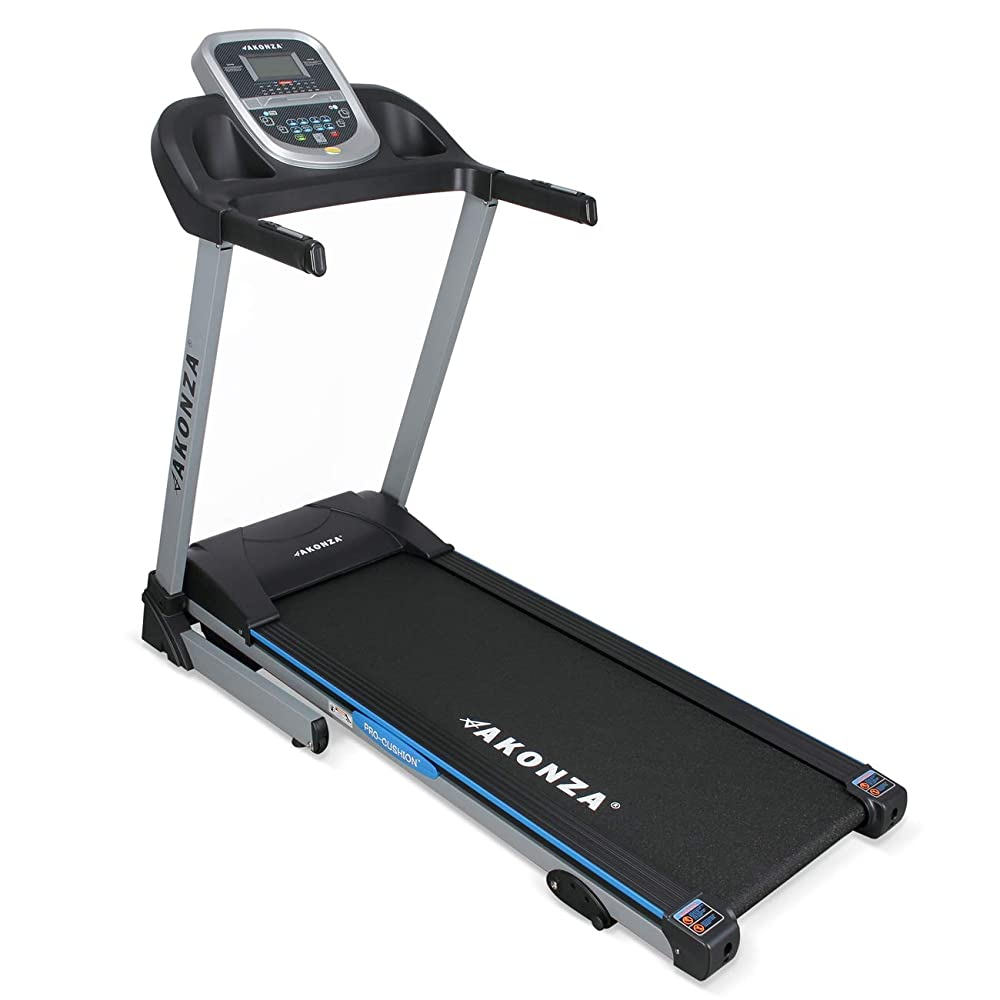 Akonza Heavy Duty Foldable LCD Display Power Electric Running Fitness Treadmill w/ MP3 Phone and 2 Cup Holders