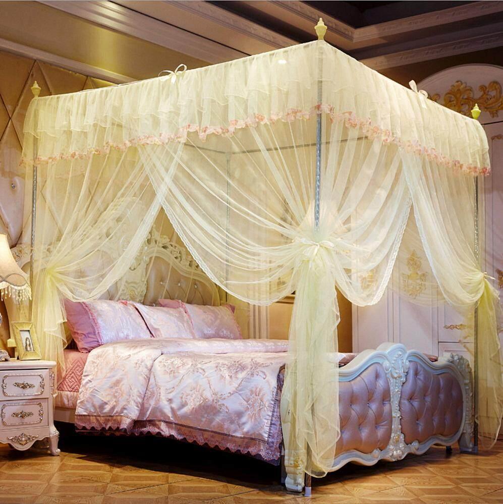 มุ้งกันยุง ดีไซน์วินเทจ มุ้งเจ้าหญิง มุ้ง 4 เสา มุ้งประดับห้องนอน ตกแต่งเตียงนอน ขนาด 6 ฟุต (180x200 เซนติเมตร) พร้อมโครงเสาในชุด