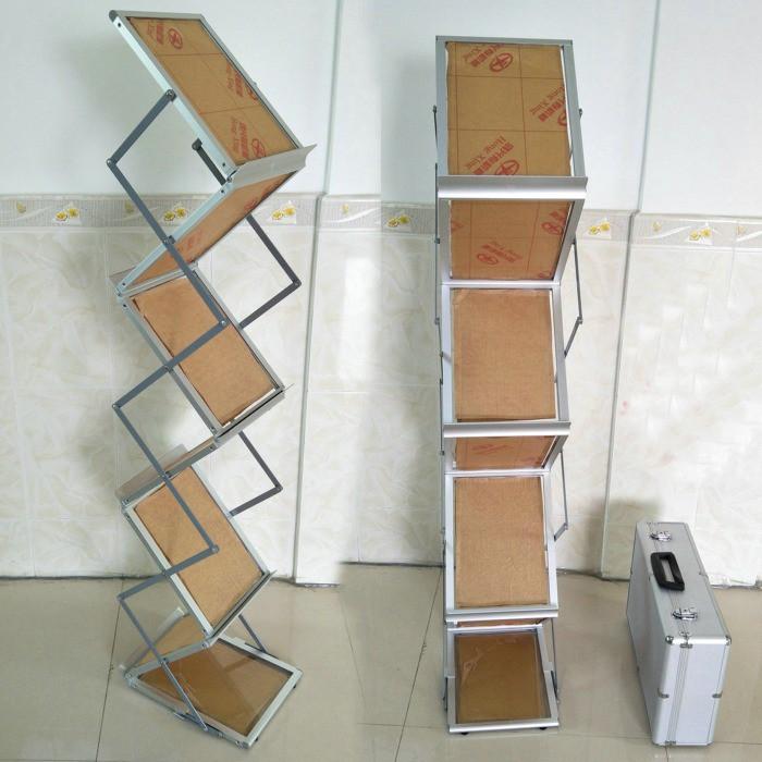 5Cgo A4鋁合金支架透明壓克力板折疊資料架目錄雜志架單頁展架雙面可放折疊展場DM架菜單廣告單含收納箱【現貨開發票】