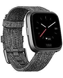 Fitbit Versa™ Charcoal Woven Band Touchscreen Smart Watch 39mm