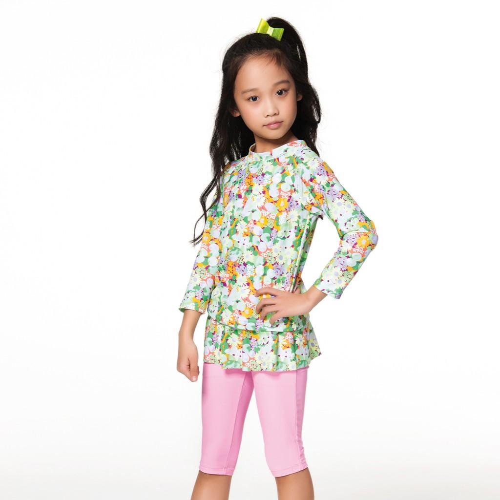 APPLE(蘋果)   女童彩色小碎花長袖搭裙五分褲二件式泳衣 贈泳帽  NO-106601