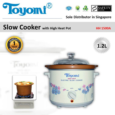 TOYOMI Slow Cooker High Heat 1.2L [Model: HH 1500A] - Official TOYOMI Warranty Set. 1 Year Warranty.