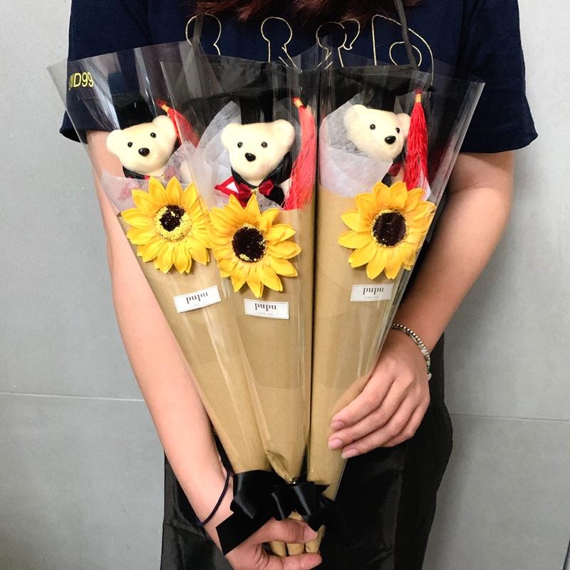 小熊花束 畢業花束 乾燥花 生日送禮 客製化