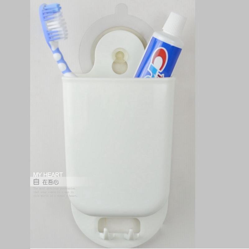 2個裝 強力吸壁吸盤牙刷架 牙膏筒 浴室收納用品 靜電膜無痕貼 多功能浴室架 收納筒 超強負重6KG 廚房餐具收納架