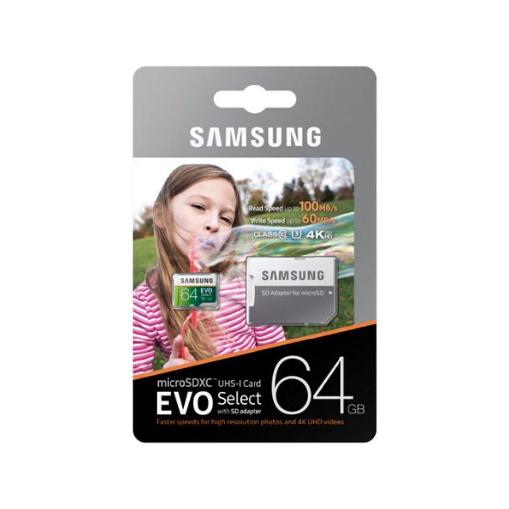 Samsung 64GB 💯 MB/s (U3) MicroSDXC EVO Select Memory Card with Adapter