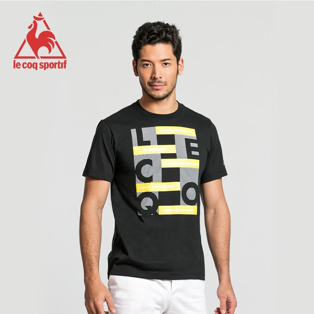 le coq sportif 法國公雞牌印花運動訓練短袖T恤 男-黑