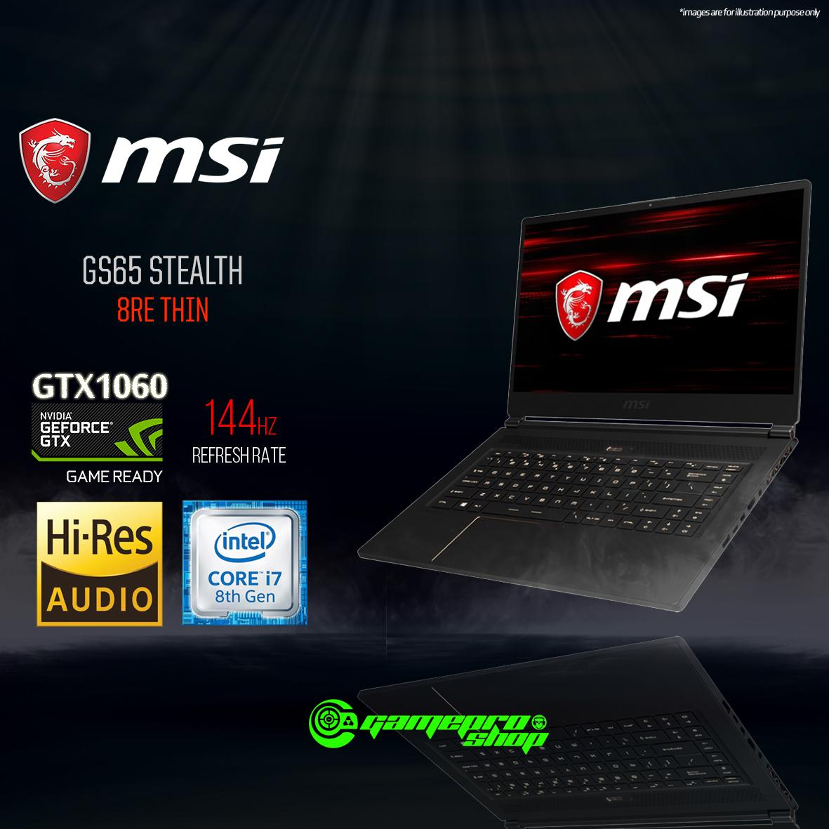 "MSI GS65 8RE GTX1060 Stealth - Thin (i7-8750H / 8GB / 256GB SSD) 15.6"" with 144Hz Gaming Laptop *IT SHOW PROMO*"
