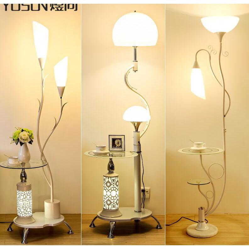 【比比居小鋪】簡約現代落地燈遙控LED臥室床頭書房客廳立式臺燈置物茶几子母燈