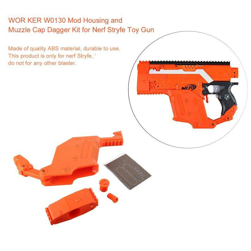 ANEXT WOR KER W0130 Mod Housing and Muzzle Cap Dagger Kit for Nerf Stryfe Toy Gun