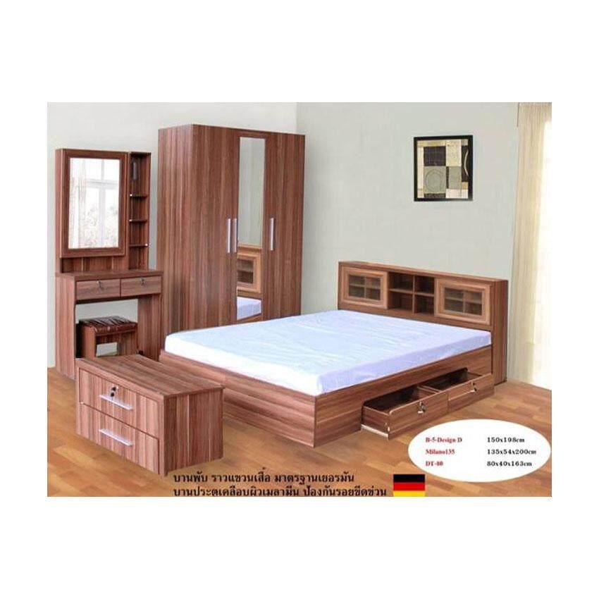 ชุดห้องนอนหัวบานเลือนมีลิ้นชัก รุ่น Milan Set ขนาด 6 ฟุต เตียง 6 ฟุต + ตู้เสื้อผ้า 3 บาน + โต๊ะแป้ง 80 cm+ตู้ลิ้นชัก ( สีสัก )