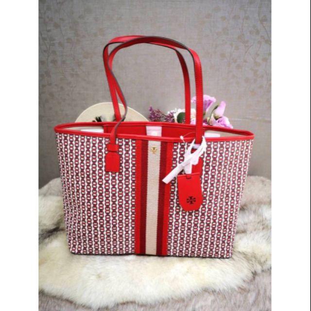 กระเป๋าถือสีแดง Tory Burch GEMINI LINK CANVAS TOTE